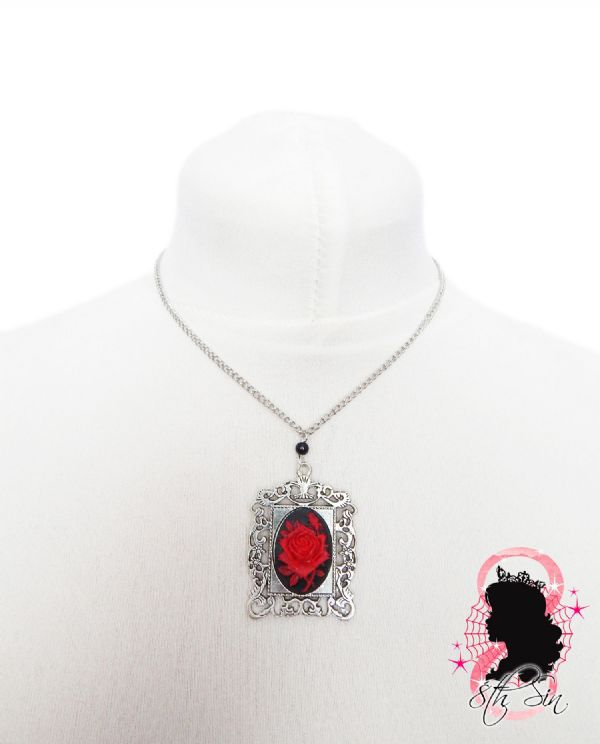 Antique Silver and Red Rose Necklace